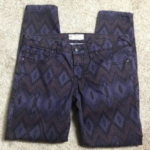 Free People Skinny Jeans Purple Native Pattern 27